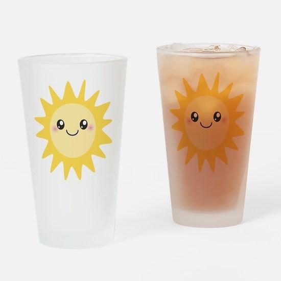 Cute happy sun Drinking Glass