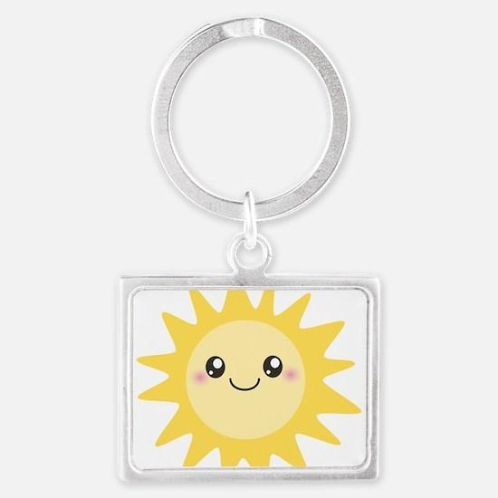 Cute happy sun Landscape Keychain