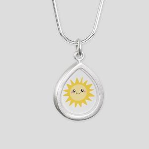 Cute happy sun Silver Teardrop Necklace