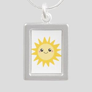 Cute happy sun Silver Portrait Necklace