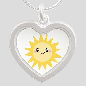 Cute happy sun Silver Heart Necklace