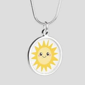 Cute happy sun Silver Round Necklace