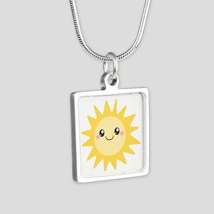 Cute happy sun Silver Square Necklace