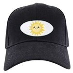 Cute happy sun Black Cap