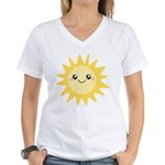 Cute happy sun Women's V-Neck T-Shirt