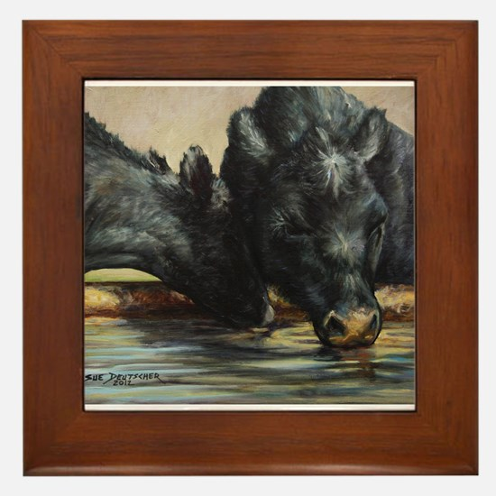 Two Black Angus Framed Tile