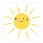 Kawaii smiley sun Square Car Magnet 3