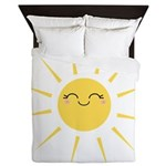 Kawaii smiley sun Queen Duvet