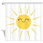 Kawaii smiley sun Shower Curtain