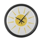 Kawaii smiley sun Large Wall Clock