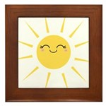 Kawaii smiley sun Framed Tile