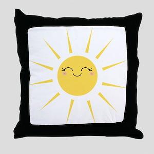 Kawaii smiley sun Throw Pillow