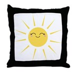 Kawaii smiley sun Throw Pillow