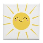 Kawaii smiley sun Tile Coaster