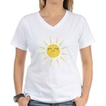 Kawaii smiley sun Women's V-Neck T-Shirt