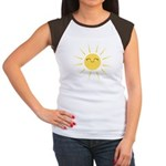 Kawaii smiley sun Women's Cap Sleeve T-Shirt