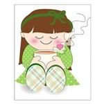 Cute cartoon girl with coffee / tea Small Poster
