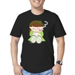 Cute cartoon girl with coffee / tea Men's Fitted T