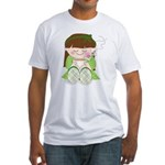 Cute cartoon girl with coffee / tea Fitted T-Shirt