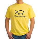 Darwinning Evolution Darwin Fish Yellow T-Shirt