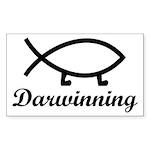 Darwinning Evolution Darwin Fish Sticker (Rectangl