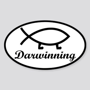 Darwinning Evolution Darwin Fish Sticker (Oval)