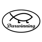 Darwinning Evolution Darwin Fish Sticker (Oval)