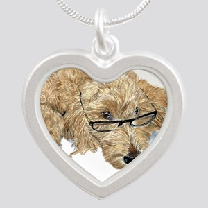 Goldendoodle Stella Silver Heart Necklace