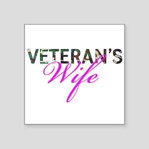 "BDU Army Vet Wife Square Sticker 3"" x 3"""