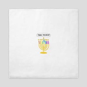 Happy Hanukkah Menorah Queen Duvet