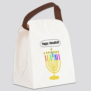 Happy Hanukkah Menorah Canvas Lunch Bag