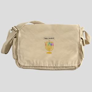 Happy Hanukkah Menorah Messenger Bag