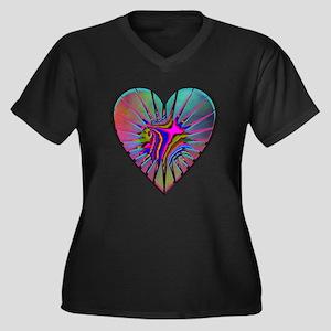 Cosmic Heart Women's Plus Size V-Neck Dark T-Shirt