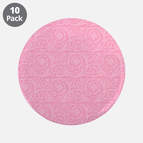 "Pink Abstract Floral Print 3.5"" Button (10 pack)"