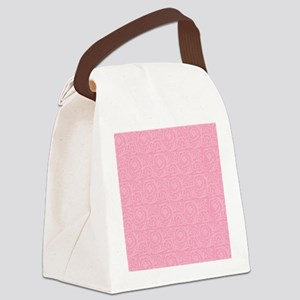 Pink Abstract Floral Print Canvas Lunch Bag