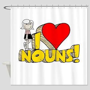 I Heart Nouns Shower Curtain