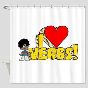 I Heart Verbs - Schoolhouse R Shower Curtain