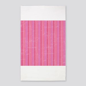 Pink Vintage Stripes 3'x5' Area Rug