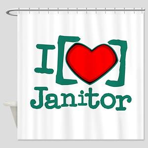 I Heart Janitor Shower Curtain
