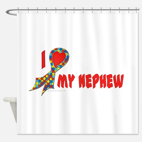 Autism Puzzle I Heart/Support Shower Curtain