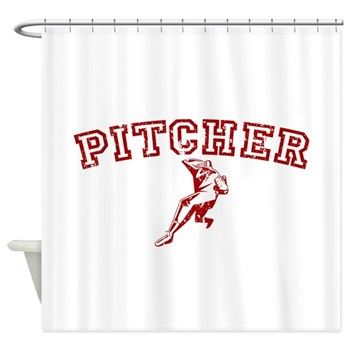 Pitcher - Red Shower Curtain