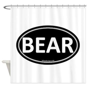 BEAR Black Euro Oval Shower Curtain