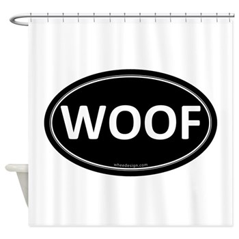 WOOF Black Euro Oval Shower Curtain