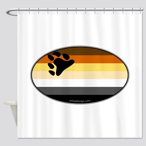 Oval Bear Pride Flag Shower Curtain