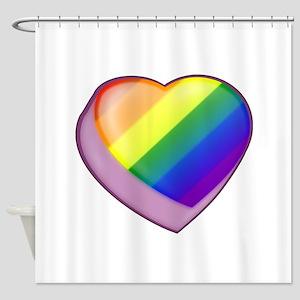 Rainbow Candy Heart Shower Curtain