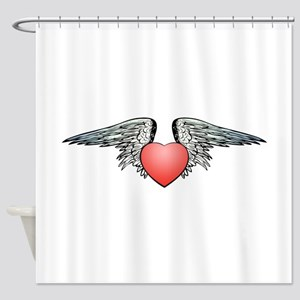 Angel Winged Heart Shower Curtain