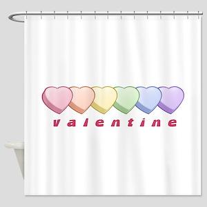 Pride Candy Heart Valentine Shower Curtain