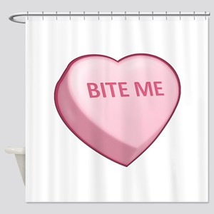 Bite Me Candy Heart Shower Curtain