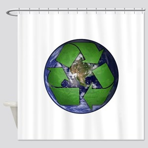 Green Recycle on Earth Shower Curtain