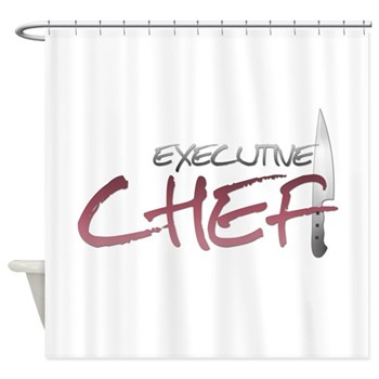 Red Executive Chef Shower Curtain